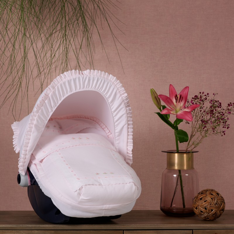 Fabricado en pa/ño gofrado Rosa Saco de capazo Grupo 0 Rosy 46 cm x 75 cm x 8 cm